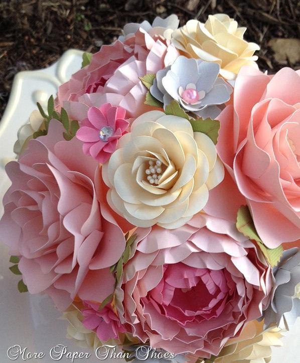 Paper flower bouquet wedding bouquet shabby chic pink and grey paper flower bouquet wedding bouquet shabby chic pink and grey made to order any color combo mightylinksfo
