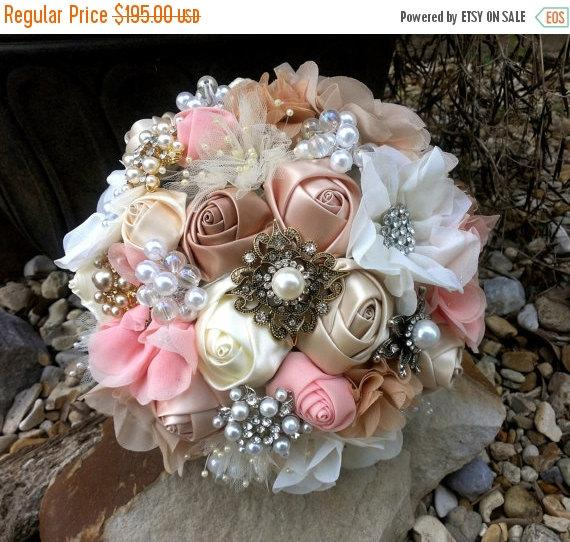 Mariage - THANKSGIVING SALE Romantic Brooch Bouquet, Fabric Flower and Brooch Bouquet -  Ivory, Blush, Peach, Champagne, Cream, Tan Bouquet, OR Your C