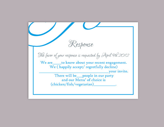 Свадьба - DIY Wedding RSVP Template Editable Text Word File Download Printable RSVP Cards Aqua Rsvp Card Template Blue Rsvp Card