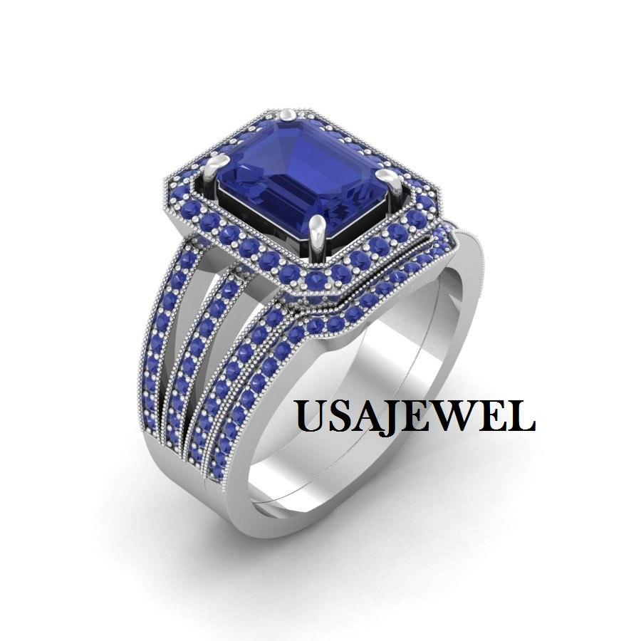 Wedding - 4.69ct Dark Blue Princess Cut Engagement Bridal Wedding Promise Jumbo Heavy Ring in 925 Sterling Silver Full White Metal with Free Shipping