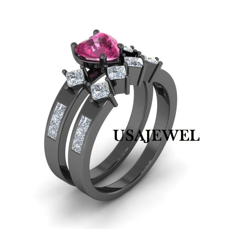 Wedding - 2.48ct Dark Pink Heart Cut Engagement Bridal Wedding Promise Beautiful Sexy Ring in 925 Sterling Silver Full Black Metal with Free Shipping