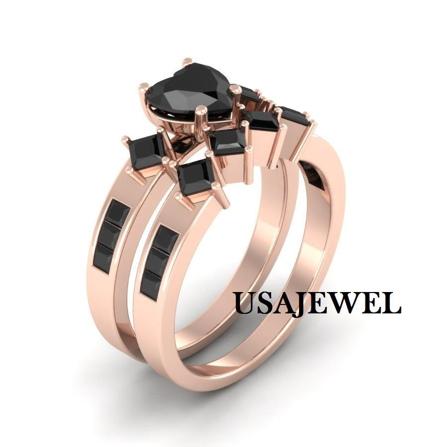 Mariage - 2.53ct Black Heart Cut Engagement Bridal Wedding Promise Beautiful Sexy Ring in 925 Sterling Silver Rose Gold Metal with Free Shiping