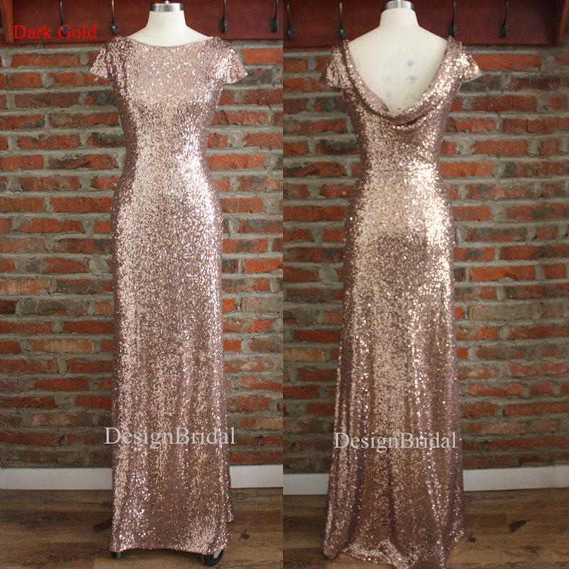 Hochzeit - Boutique Sequin Long Wedding Bridesmaid Dress,Sequin Prom Evening Gown,Perfect Dress for Formal Occasions,Sequined Wedding Dress Cowl Back