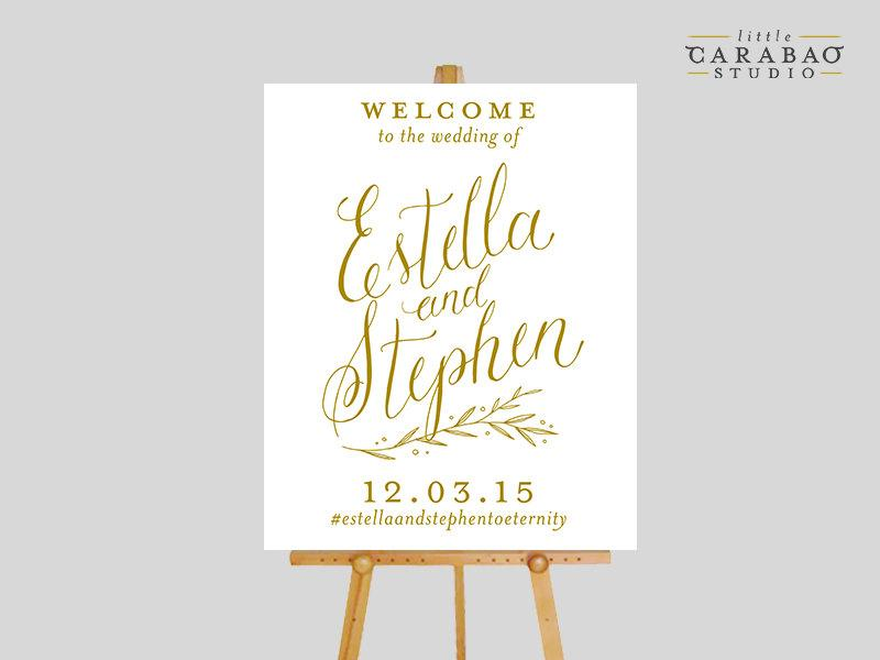 Digital Wedding Welcome Sign Calligraphy Printable Reception Custom Little Carabao Studio 009