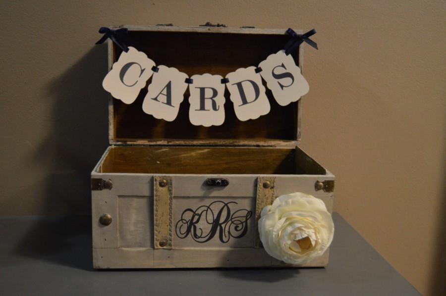 Medium Vintage Wedding Card Holder W Banner And Monogram Trunk Box With Custom A2a