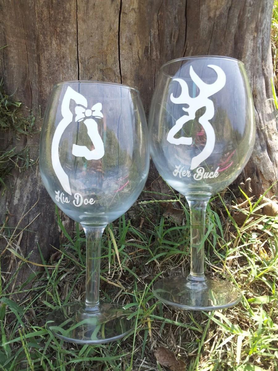 Mariage - Her Buck His Doe Deer head wine glasses