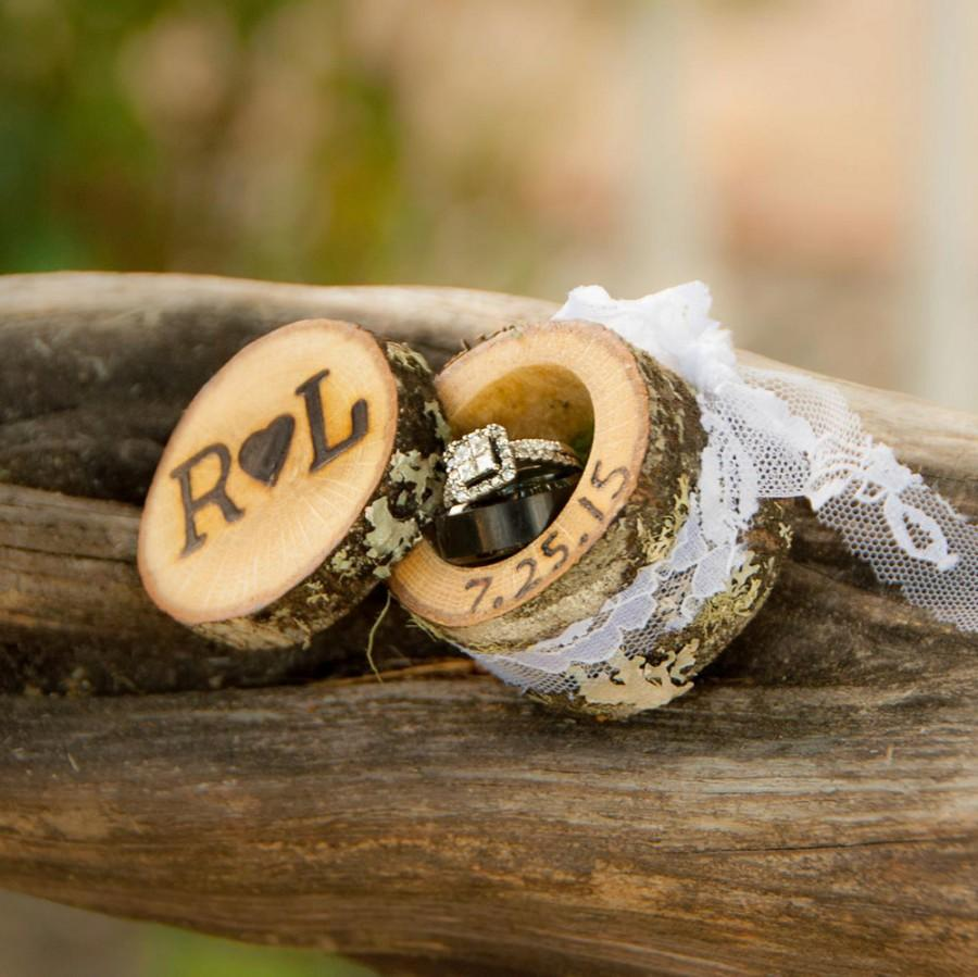 Mini Log Ring Boxes Wedding Ring Box Wood Ring Box Proposal Ring Box Engagement  Ring Box Wedding Ring Holder Custom Ring Box Rustic Wooden