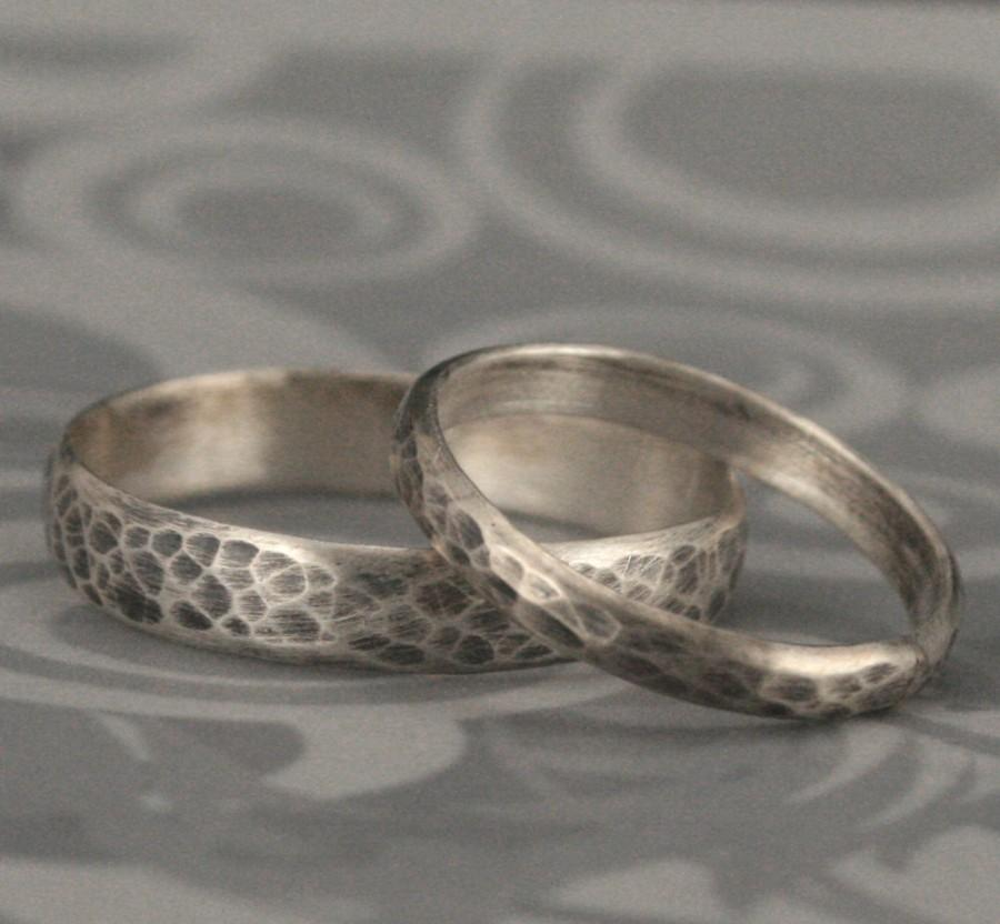 Hammered Bands Matching Sterling Silver Wedding Ring Set Oxidized And Brushed Rings Rustic