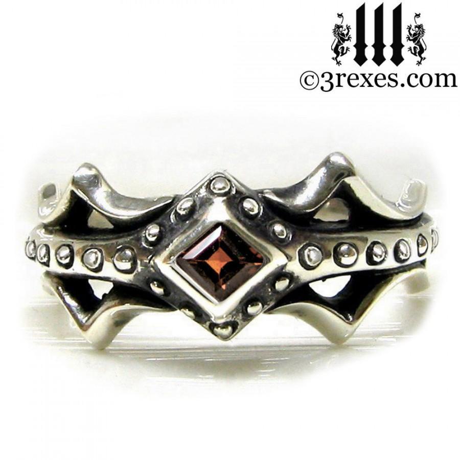 Hochzeit - Silver Fairy Princess Engagement Ring Gothic Red Garnet Size 7