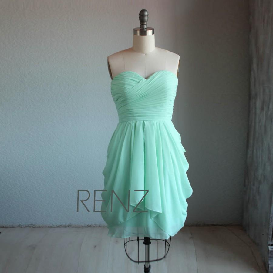 Wedding - 2015 Mint Bridesmaid dress, Dusty Shale Wedding dress, Strapless Short Prom dress, Draped Chiffon Cocktail dress knee length (B062A)-Renz