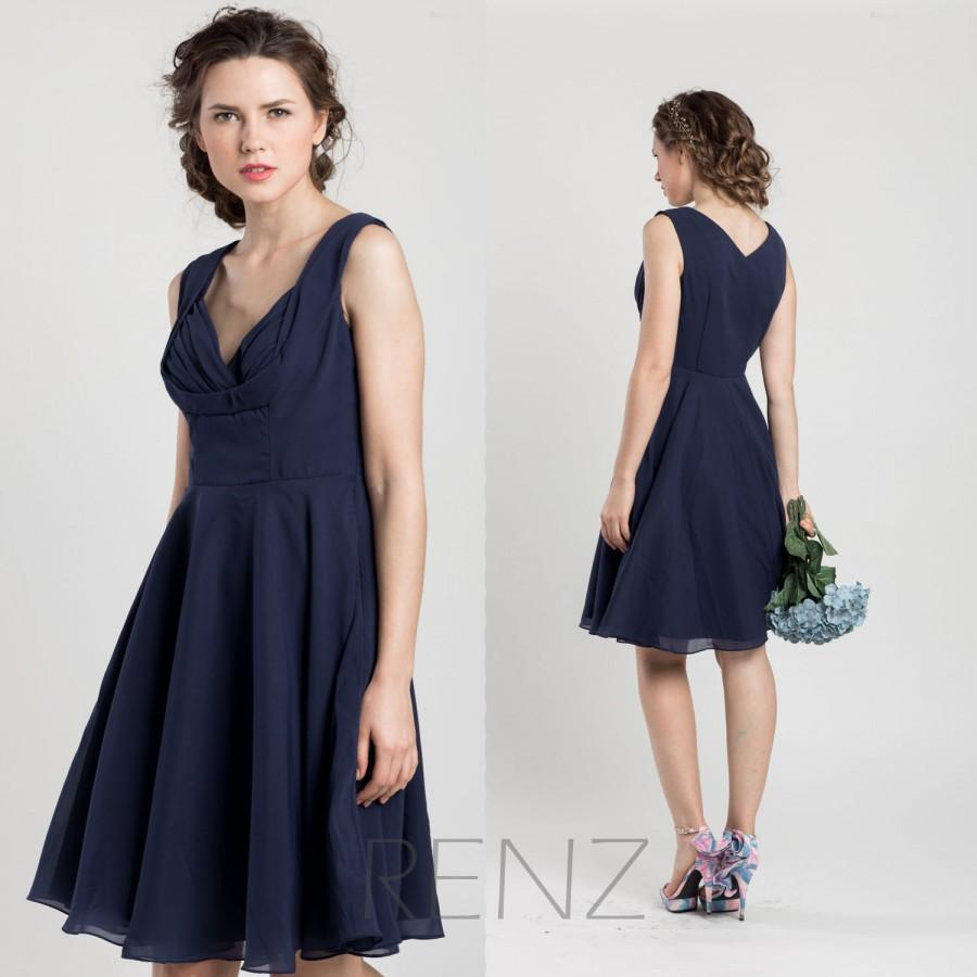 2017 Navy Blue Bridesmaid Dress Short Wedding Chiffon Party Formal Knee Length F026