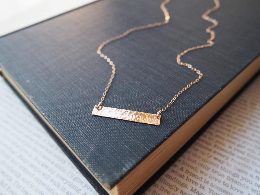 Свадьба - Rose Gold Bar Necklace, Hammered Bar Necklace, Rose Gold Initial Necklace, All Rose Gold Filled
