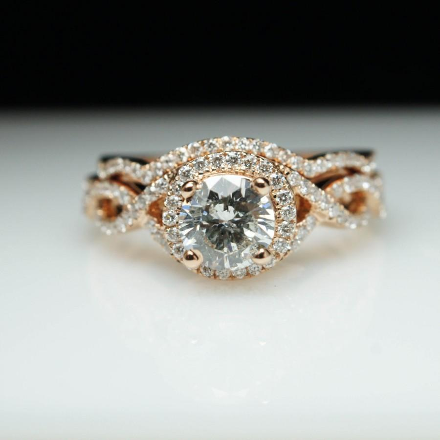18k Rose Gold Round Diamond Engagement Ring & Wedding Band Set plete B