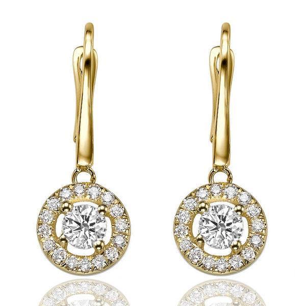 Gold Dangle Earrings Diamond 14k Pave 0 8 Ct Bridal