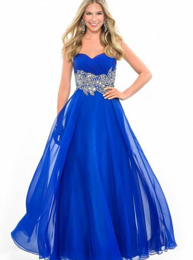Boda - A-line Sweetheart Natural Floor Length Sleeveless Beading Ruched Chiffon Royal Blue Prom / Homecoming / Evening Dresses By Splash H111