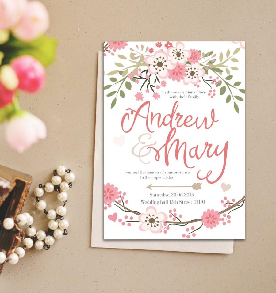 Romantic Pastel Flower Wedding Invitation Instant