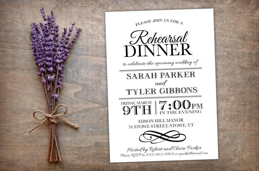 Printable Rehearsal Dinner Invitation Elegant Modern Simple