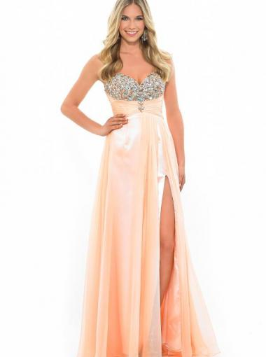 Mariage - A-line Sweetheart Natural Floor Length Sleeveless Beading Split Zipper Up Chiffon Orange Lilac Prom / Homecoming / Evening Dresses By Splash H104