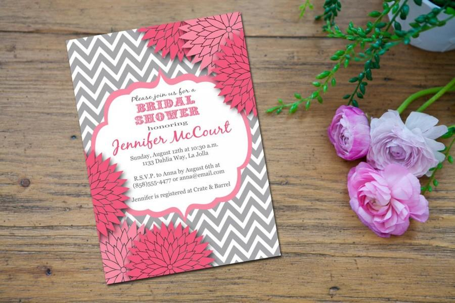 زفاف - Bridal Shower Invitation, Baby Shower Invitationm Wedding Shower Invite, Printable, Chevron, Grey Pink - Jennifer