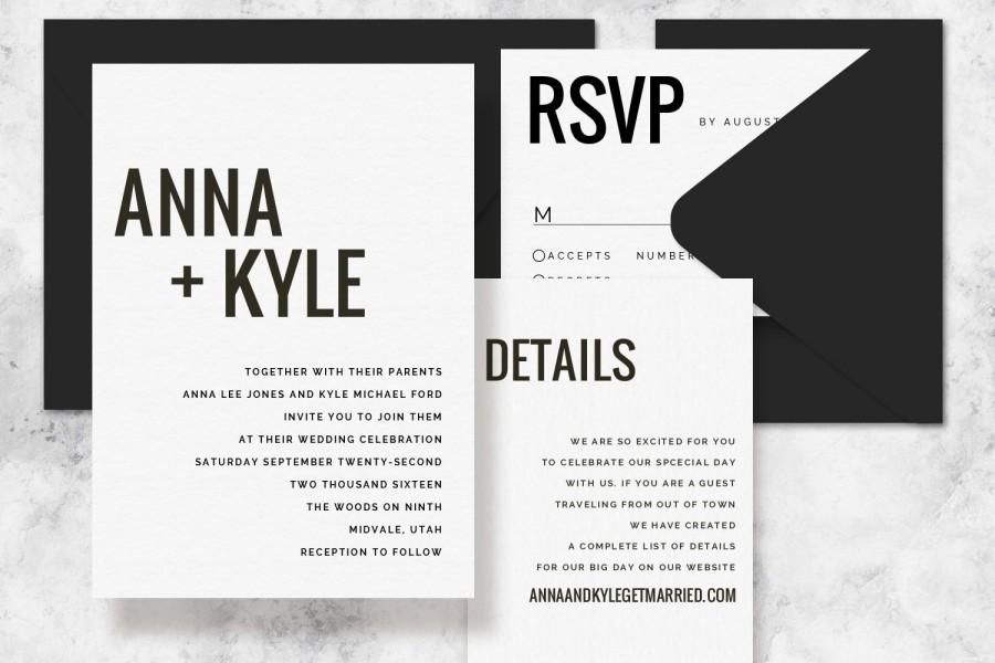 Hochzeit - Modern Minimalist Printable Wedding Invitation Set - Wedding Invitation Template for Word