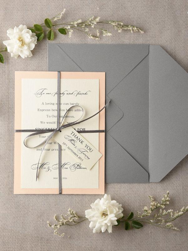 Wedding Thank You Card 20 Peach Grey Thank You Cards – Personalised Wedding Thank You Cards