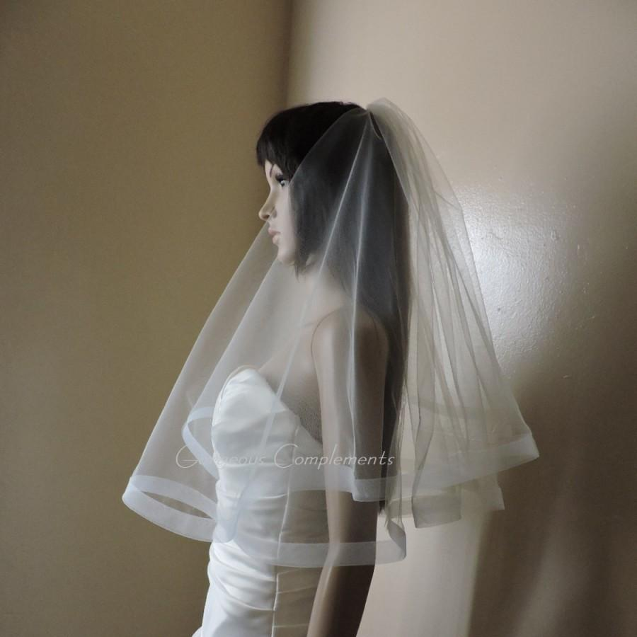 "Wedding - 1"" Horsehair Trim Wedding Drop Veil Illusion Tulle -Blush White Ivory Champagne Light Ivory Off White"
