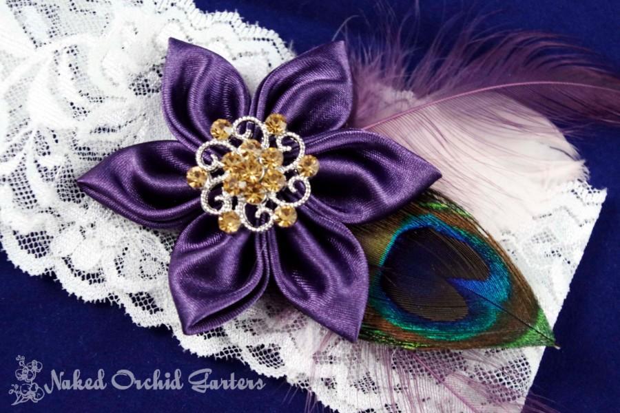 Hochzeit - Plum Purple Wedding Garter Set, Peacock Garters, Vintage Bridal Garter, Ivory Shabby Lace, Light Eggplant, Amethyst