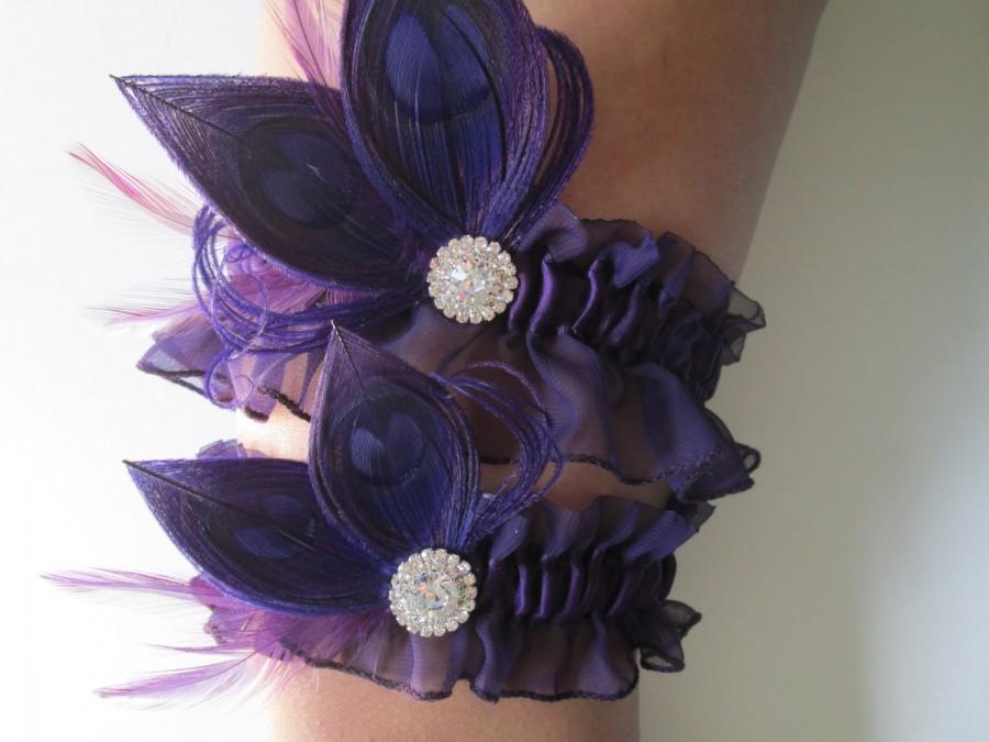 Hochzeit - Purple Wedding Garter Set, Peacock Garters, Plum / Eggplant / Amethyst Purple Chiffon Garter, Purple Prom Garter