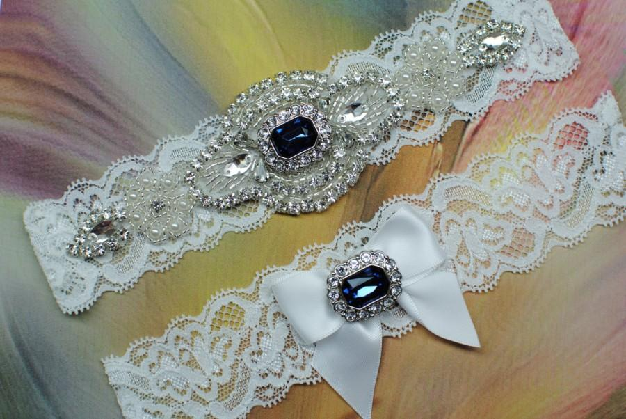 Wedding - Blue Wedding Garter Set Blue Garder Wedding Garter Set Bridal Garter Set Shiny Garter Set Something Blue Garder Crystal Garder Lace Garter