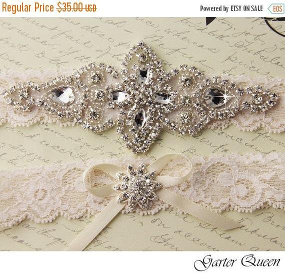 Wedding - 25% OFF sale Garter, Wedding garter set, Bridal Garter set, Ivory stretch lace Bridal Garter, ivory rhinestone and Crystal garters