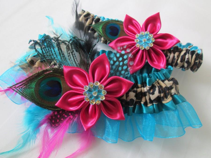 Свадьба - Peacock Wedding Garter Set, Teal Blue Garters, Leopard Garter, Hot Pink Garter, Turquoise Garter w/ Pink Kanzashi Flower, Pink & Blue Garter