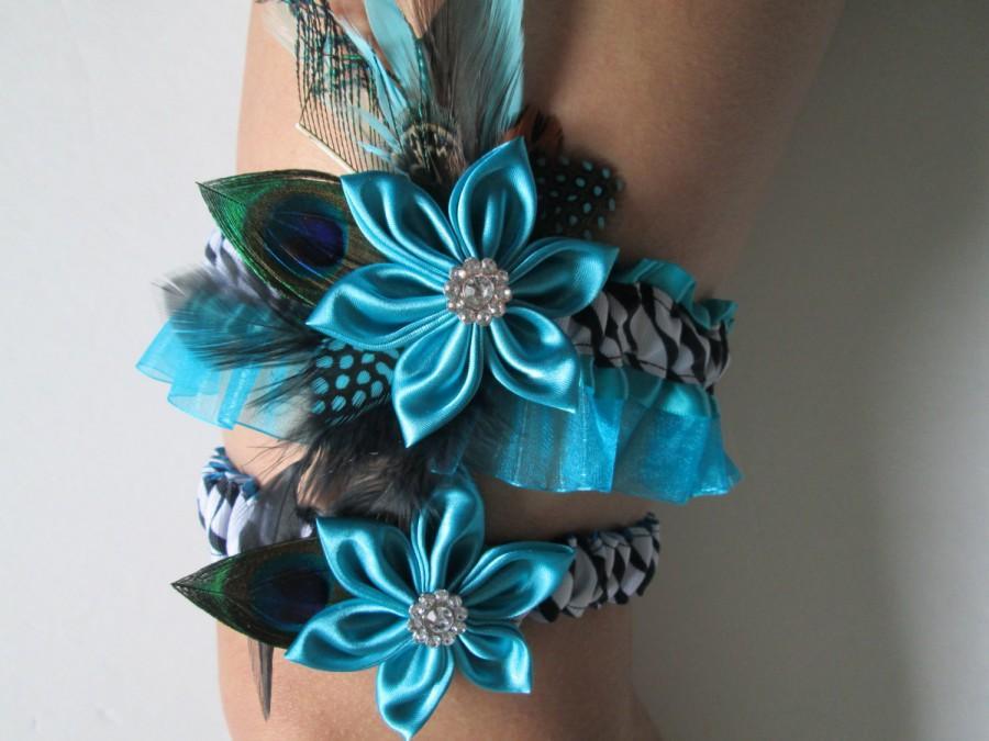 Wedding - Peacock Wedding Garter Set, Zebra Garters,Turquoise Garter, Teal Blue Garters, Kanzashi Flower, Keepsake-Toss Garter, Something Blue