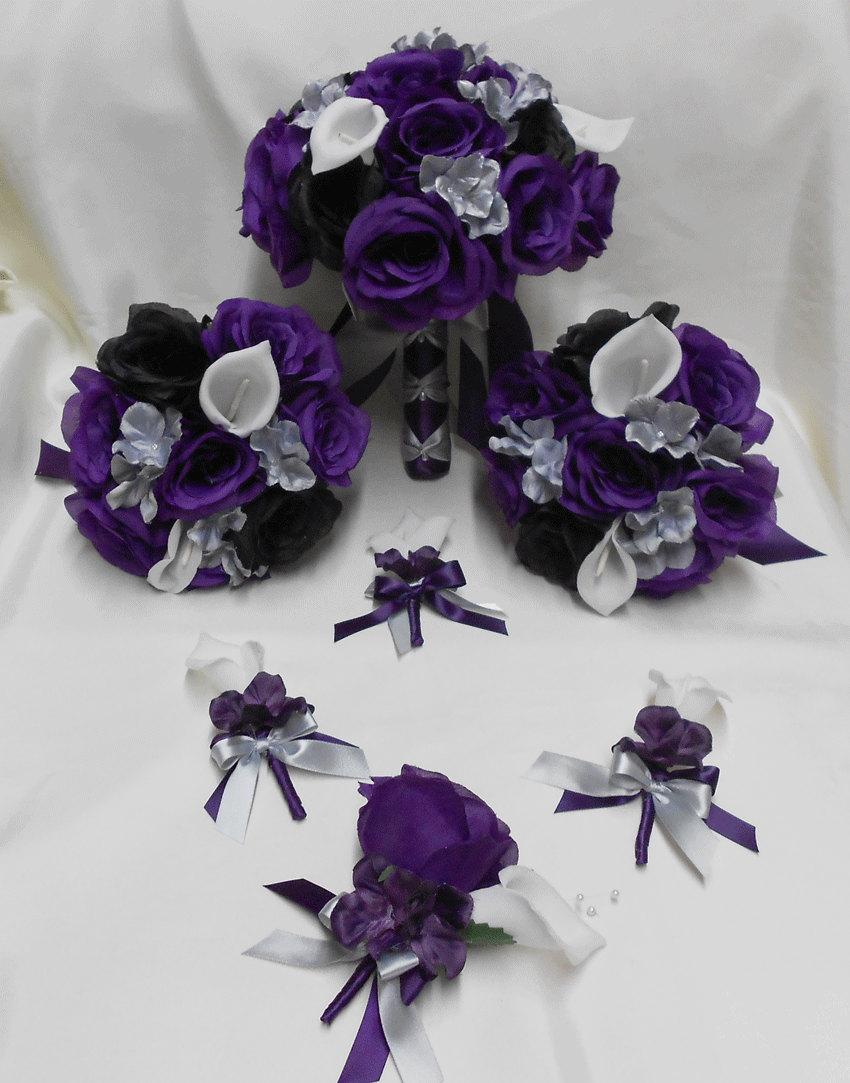 Mariage - Wedding Silk Flower Bridal Bouquets Package Calla Lily Black Purple Eggplant  Plum Rose Silver Grey Bride Boutonniere Corsages FREE SHIPPING