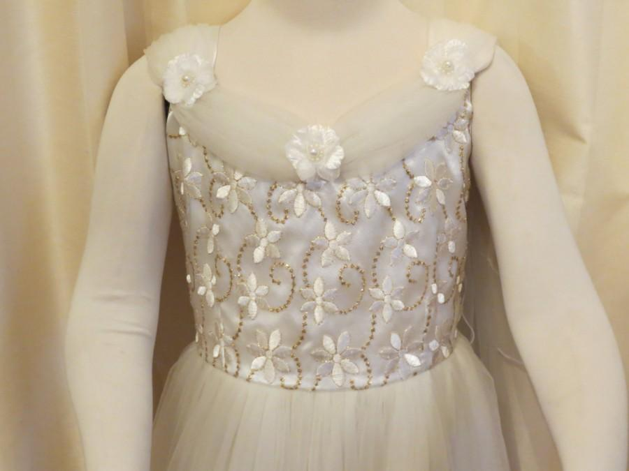 Wedding - Vintage Wedding Flower Girl First Holy Communion Christening Formal Girl's Fancy Off White Ivory Dress