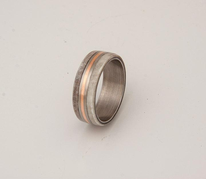Mariage - titanium and antler ring with copper inlay