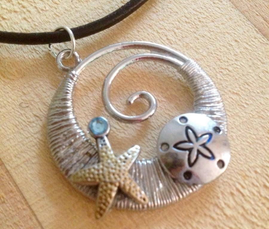 Wedding - Beach Gift Idea/Beach Jewelry, Starfish Necklace, Wave Necklace, Starfish Pendent Necklace, Beach Pendent, Ocean Jewelry, Nautical Necklace