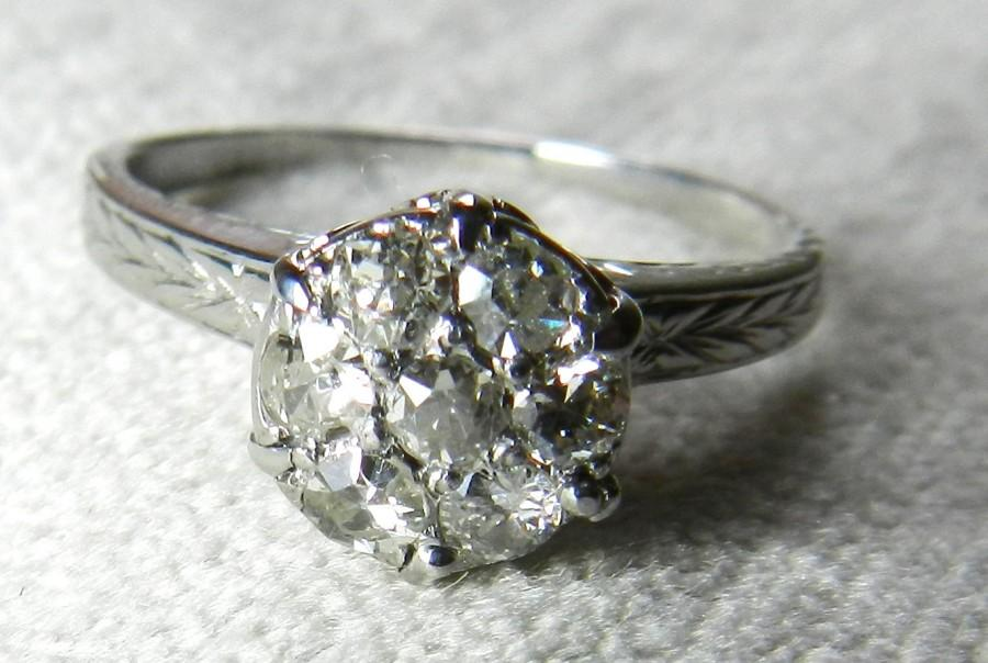 Wedding - Diamond Engagement Ring  Old European Cut Vintage Engagement ring Seven Diamonds 0.40 cttw six prong style crown setting in 14k white gold