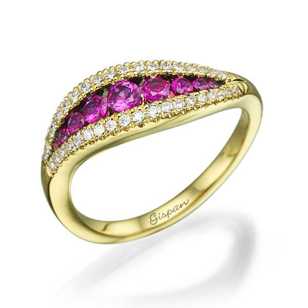 Ruby Engagement Ring 14k Yellow Gold With Diamonds Wedding Ring