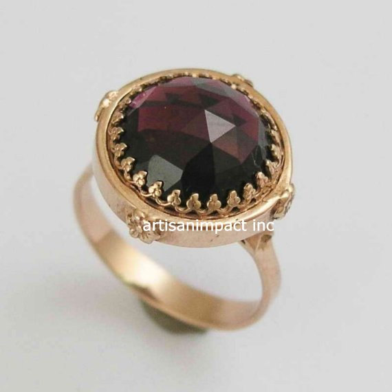 Mariage - 14k Rose gold Ring, rose gold ring engagement, unique ring for her, princess ring, rose gold crown ring, garnet ring - The treasure RG1247