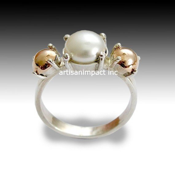 Pearl Engagement Ring, Sterling Silver Ring, Silver And