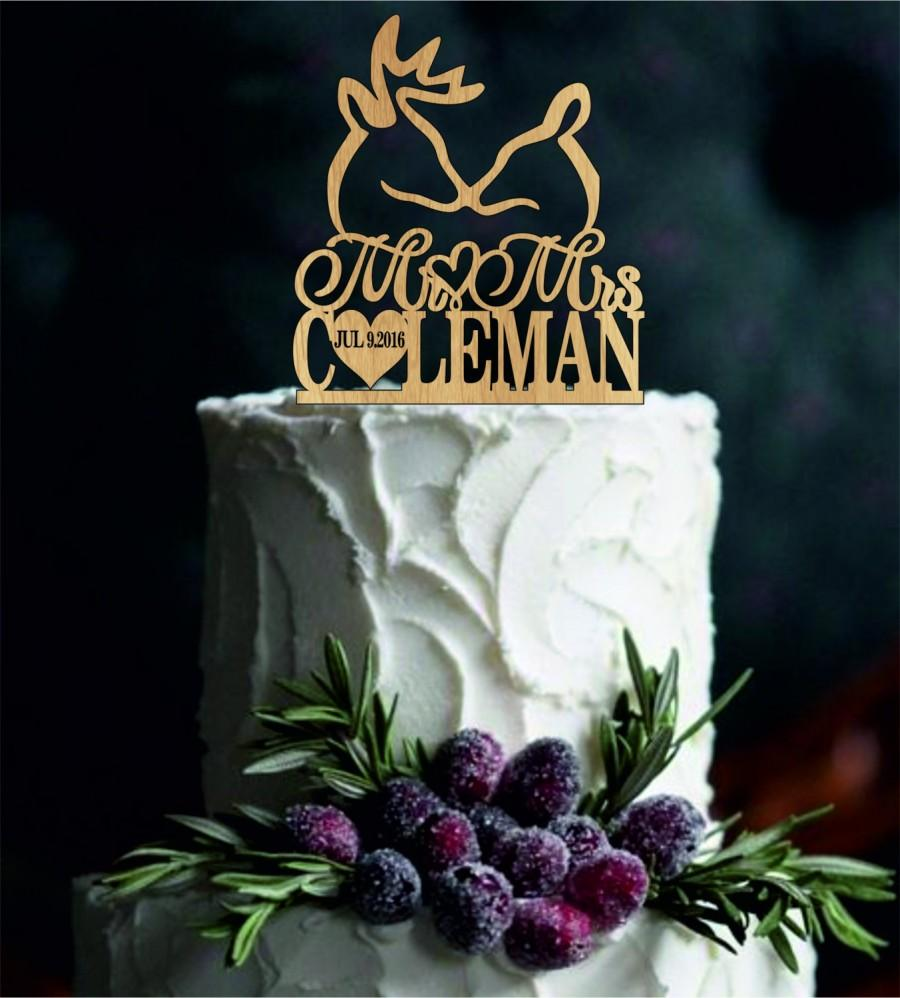 Buck And Doe Wedding Cake Topper Deer Personalized Topperrustic TopperCustom TopperCountry