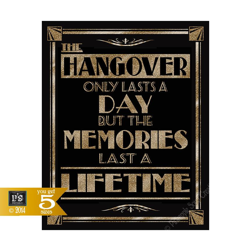 Mariage - Printable Hangover - Alcohol Art Deco/Great Gatsby/1920's theme -5 sizes instant download digital file - DIY - black and glitter gold