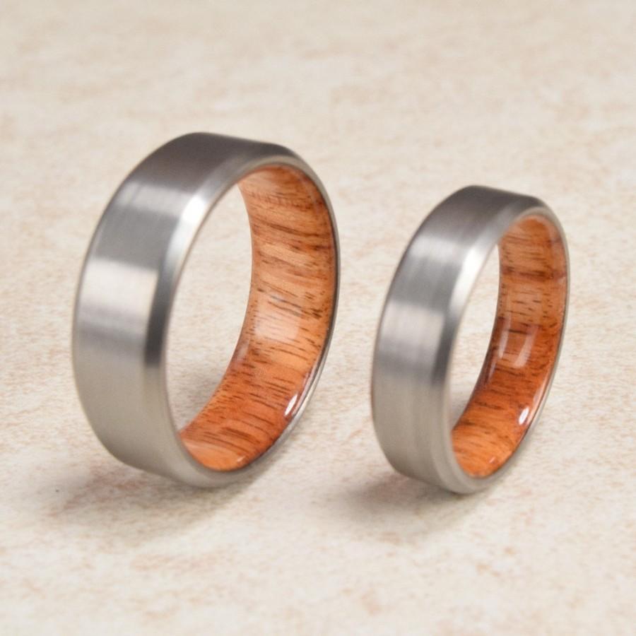 Titanium Amp Rare BrazilianTulip Wood Lined Ring