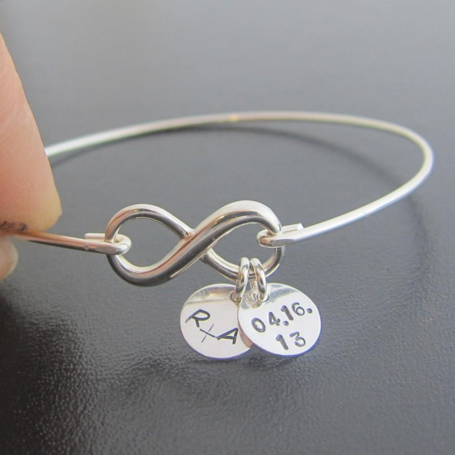 Sterling Silver Infinity Bangle Bracelet Wedding Date Anniversary Personalized Present
