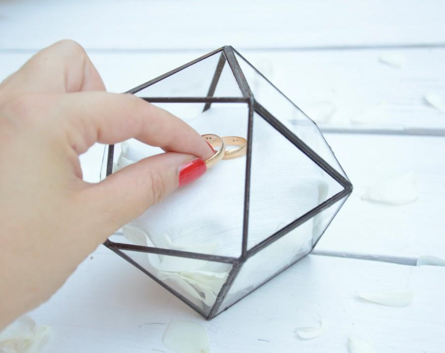 Hochzeit - Wedding Ring Holder - Wedding Ring Box - Cuboctahedron Glass Terrarium - Mini Glass Geometric Box