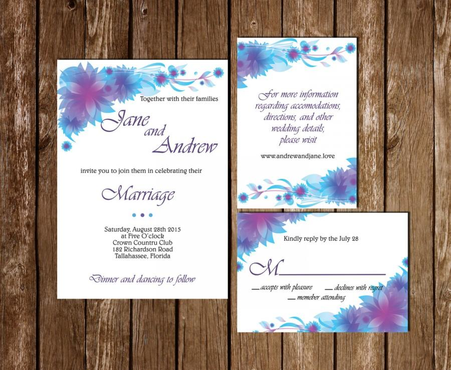 Wedding Invite Information: Printable Wedding Invitation, RSVP, Information Card