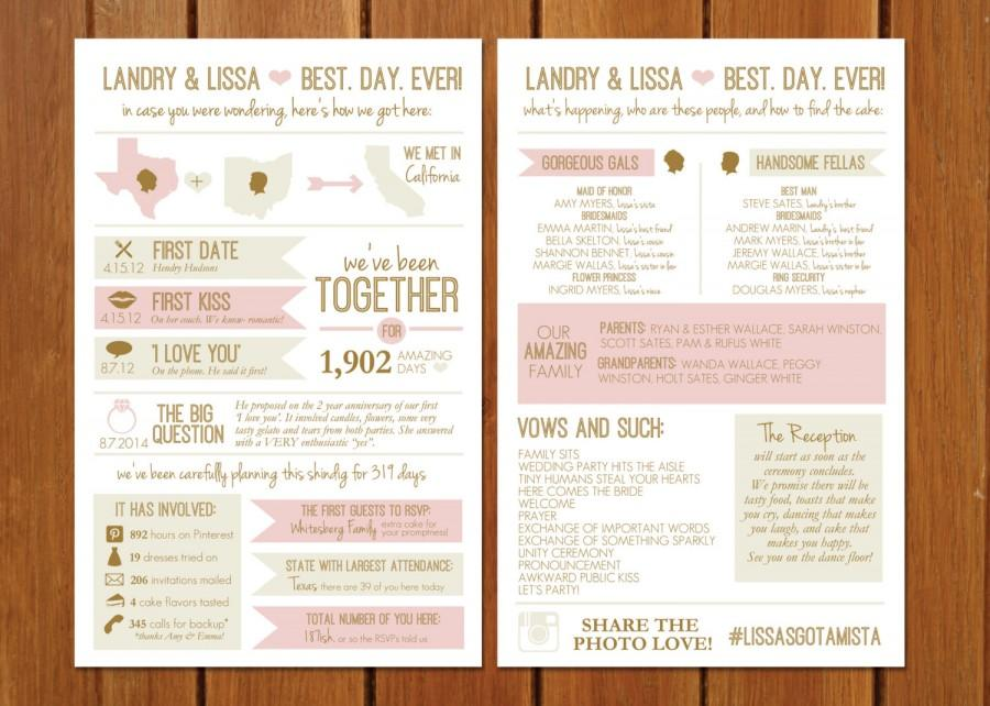 Mariage - State of Bliss Info Graphic Wedding Program
