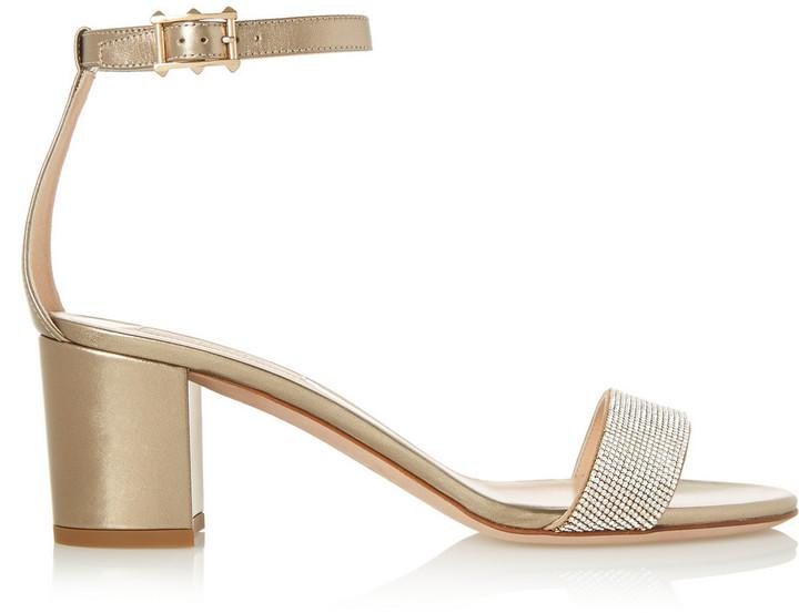 Wedding - Valentino Crystal-Embellished Metallic Leather Sandals