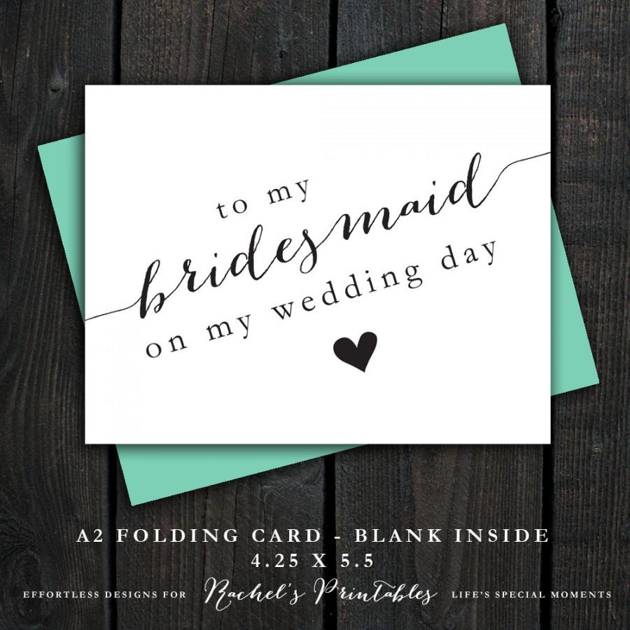 Printable Bridesmaid Thank You Card To My Bridesmaid On My Wedding