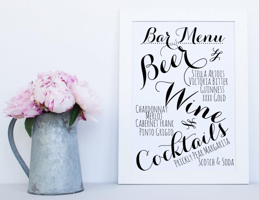 image regarding Wedding Signs Printable called Printable Bar Menu, Printable Cocktail Menu, Marriage Bar